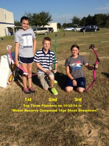 The Top three finishers in the alternative 15yd archery contest.