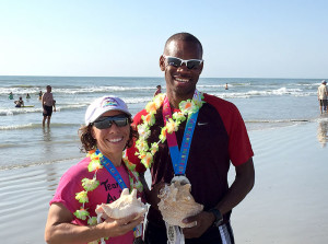 Alicia Weber and Rickie Alcime - 2015 USA 10K Beach Running Champions