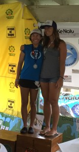 Sarah Callaham (right) won both the 4 mile SUP Race and Bic One Design North American Championship.  Weber (left) finished 2nd in the 4 mile SUP race.