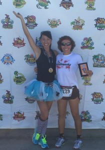 Jennifer Alonso and Alicia Weber took spots in the 10K and 5k 2015 Zombie Race.