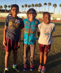 Coach Weber with her athletes Ahmad and Dannuta on 2/27/16.