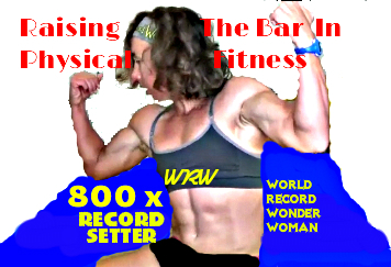 Alicia Weber sets records exclusively at Recordsetter where she is the most prolific female record holder and physical fitness record holder.  On October 26, 2016, she achieved setting 800 world records all in physical fitness at Recordsetter.
